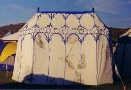 The mildewed tent before treatment & Dragonwing - Combatting Mildew
